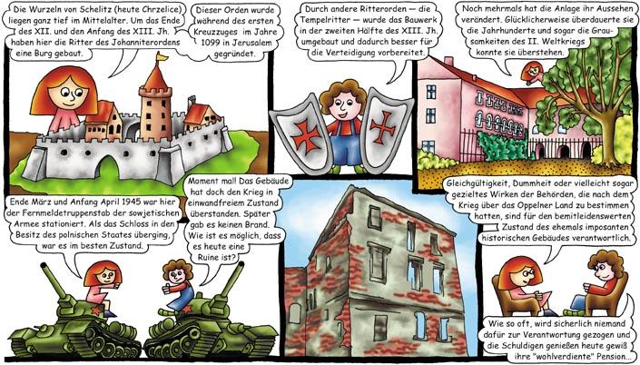 Komiks dotyczący Chrzelic w języku niemieckim